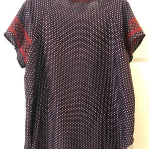 LOFT Tops - Maroon shirt with blue and red details